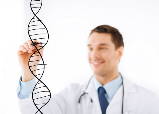 Male doctor designing a DNA helix on transparent background